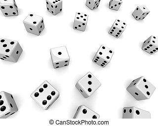 3d rendered illustration of many white dice