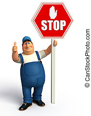 Mechanic with stop sign