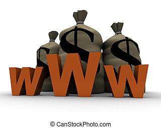 www - 3d rendered illustration of money sacks behind a www ...