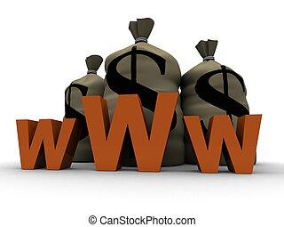 www - 3d rendered illustration of money sacks behind a www ...