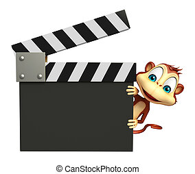 Monkey cartoon character with clapboard - 3d rendered ...