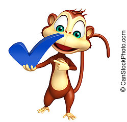 Monkey cartoon character with right sign