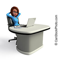 Office Girl with laptop - 3d rendered illustration of Office...
