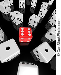 red dice - 3d rendered illustration of one red dice between...