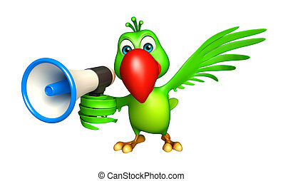Parrot cartoon character with loud speaker - 3d rendered...
