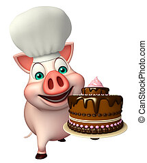 Pig cartoon character with chef hat and cake - 3d rendered ...