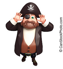 3D Rendered illustration of pirate funny pose
