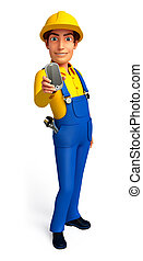 Plumber on the blank background
