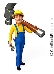 Plumber with hammer