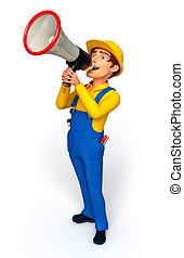 Plumber with loudspeaker - 3d rendered illustration of ...