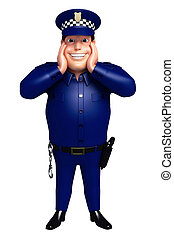 3D Rendered illustration of Police funny pose