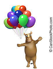 Rhino cartoon character with baloon