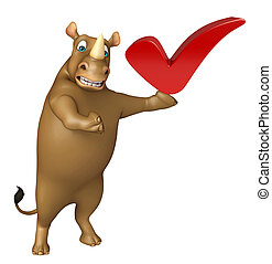 Rhino cartoon character with right sign