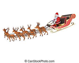 santa with his sleigh