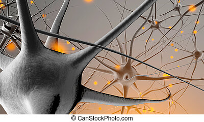 3D rendered Illustration of Signal transmission in a Neuronal