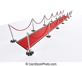 red carpet - 3d rendered illustration of silver barriers and...