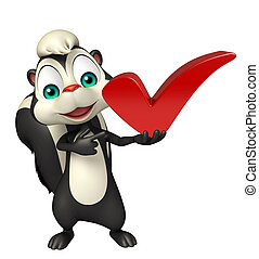 Skunk cartoon character with right sign
