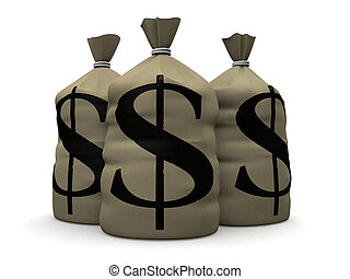 money sacks - 3d rendered illustration of some big money...