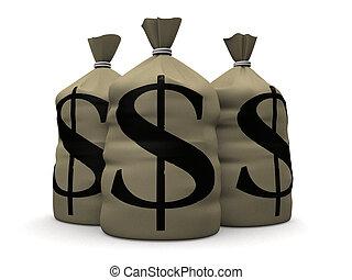 money sacks - 3d rendered illustration of some big money...