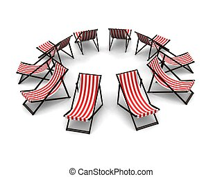 deck chairs - 3d rendered illustration of some deck chairs