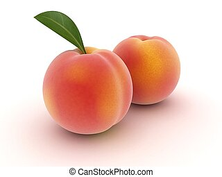 peaches - 3d rendered illustration of some isolated peaches