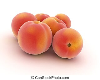 3d rendered illustration of some isolated peaches