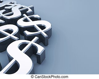 dollar signs - 3d rendered illustration of some silver...
