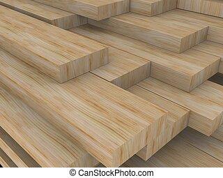 wood boards - 3d rendered illustration of some wood boards