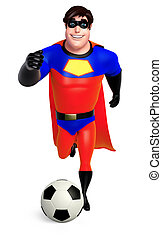 3D Rendered illustration of superhero with football