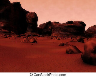 mars surface - 3d rendered illustration of the mars surface