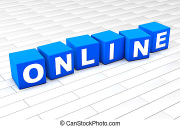 3D rendered illustration of the word Online