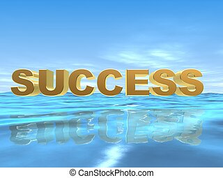 success - 3d rendered illustration of the word success over...