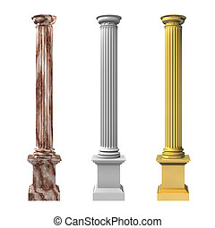 3d rendered illustration of three columns