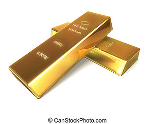 gold bars - 3d rendered illustration of two gold bars