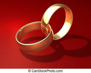 golden rings - 3d rendered illustration of two golden rings