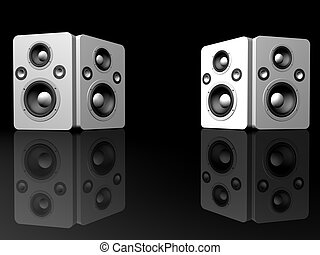 3d rendered illustration of two speakers