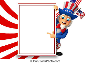 3d rendered illustration of Uncle Sam with sign