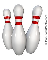 bowling pins - 3d rendered illustration of white bowling ...