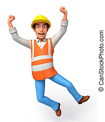 Worker on the blank background
