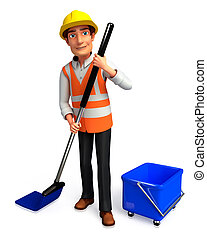 Worker with cleaning mob - 3d rendered illustration of...
