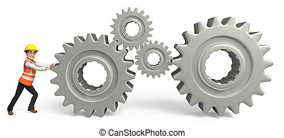Worker with gears