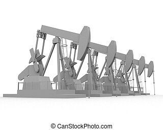 oil pumps  - 3d rendered illustration of working oil pumps
