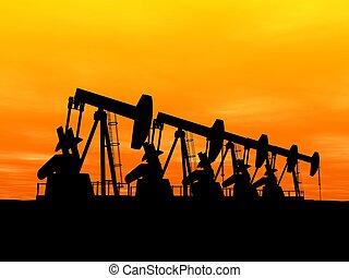 oil pumps - 3d rendered illustration of working oil pumps
