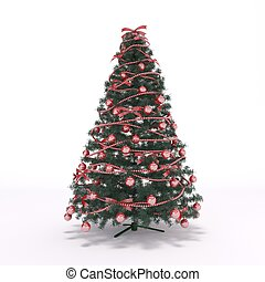 3D rendered illustration of xmas tree and decoration