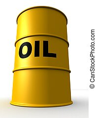 3d rendered illustration of yellow oil barrels