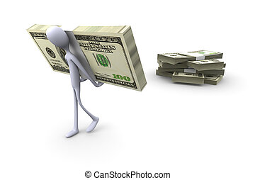 Pick up your cash - 3D rendered Illustration. Pick up your ...