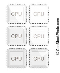 3D rendered Illustration. Six core CPU. Isolated on white.