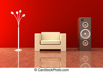 Living room - 3D rendered Interior. A contemporary Living ...