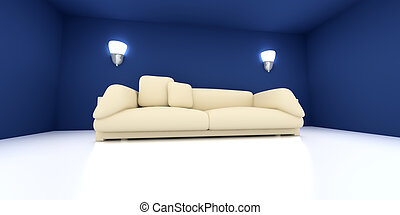 Sofa in a blue room
