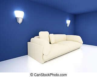 Sofa in a blue room - 3D rendered Interior. A Sofa in a blue...
